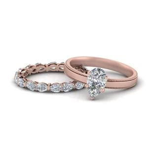Pear Diamond Wedding Ring Set