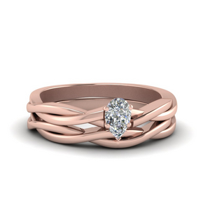 Braided Solitaire Ring And Band