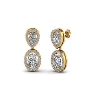 Pear Stud With Oval Halo Diamond Earring In 14K Yellow Gold