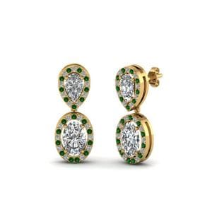 Emerald Gold Pear Stud Drop Earring