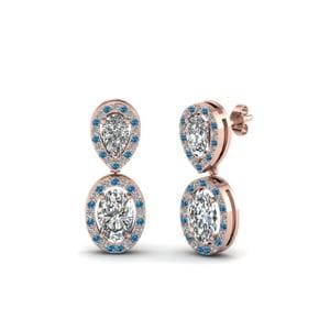 Topaz Oval Halo Diamond Earring