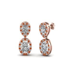 Oval Halo Diamond Drop Earring