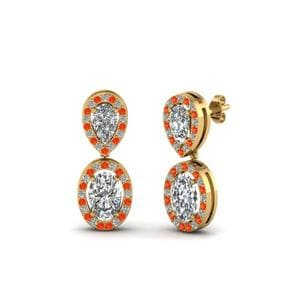 Orange Topaz Pear Stud Drop Earring