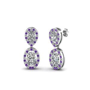 Diamond Drop Earring With Purple Topaz