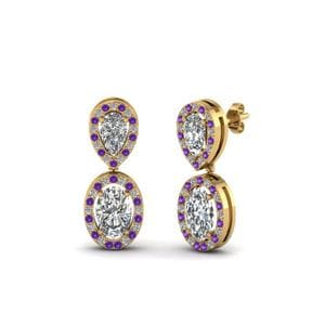 Pear Stud Purple Topaz Earring