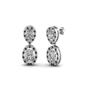 Platinum Black Diamond Drop Earring