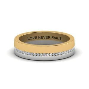 Personalized 2 Tone Diamond Band