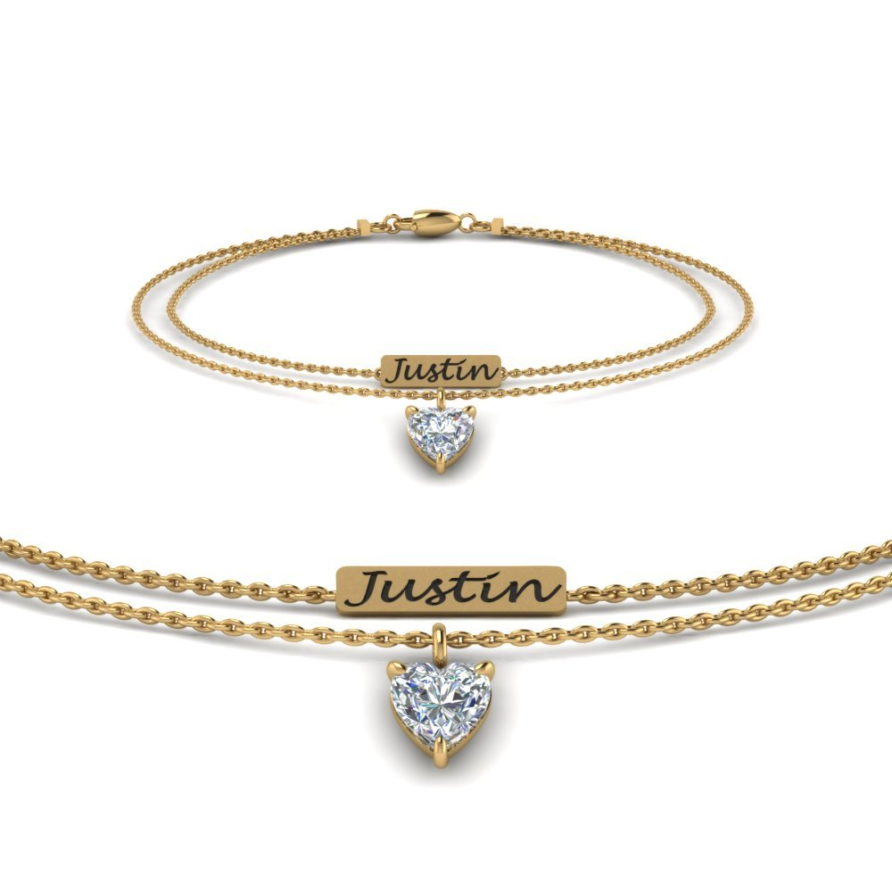 Personalized Charm Diamond Bracelet For New Mom In 14K Yellow Gold