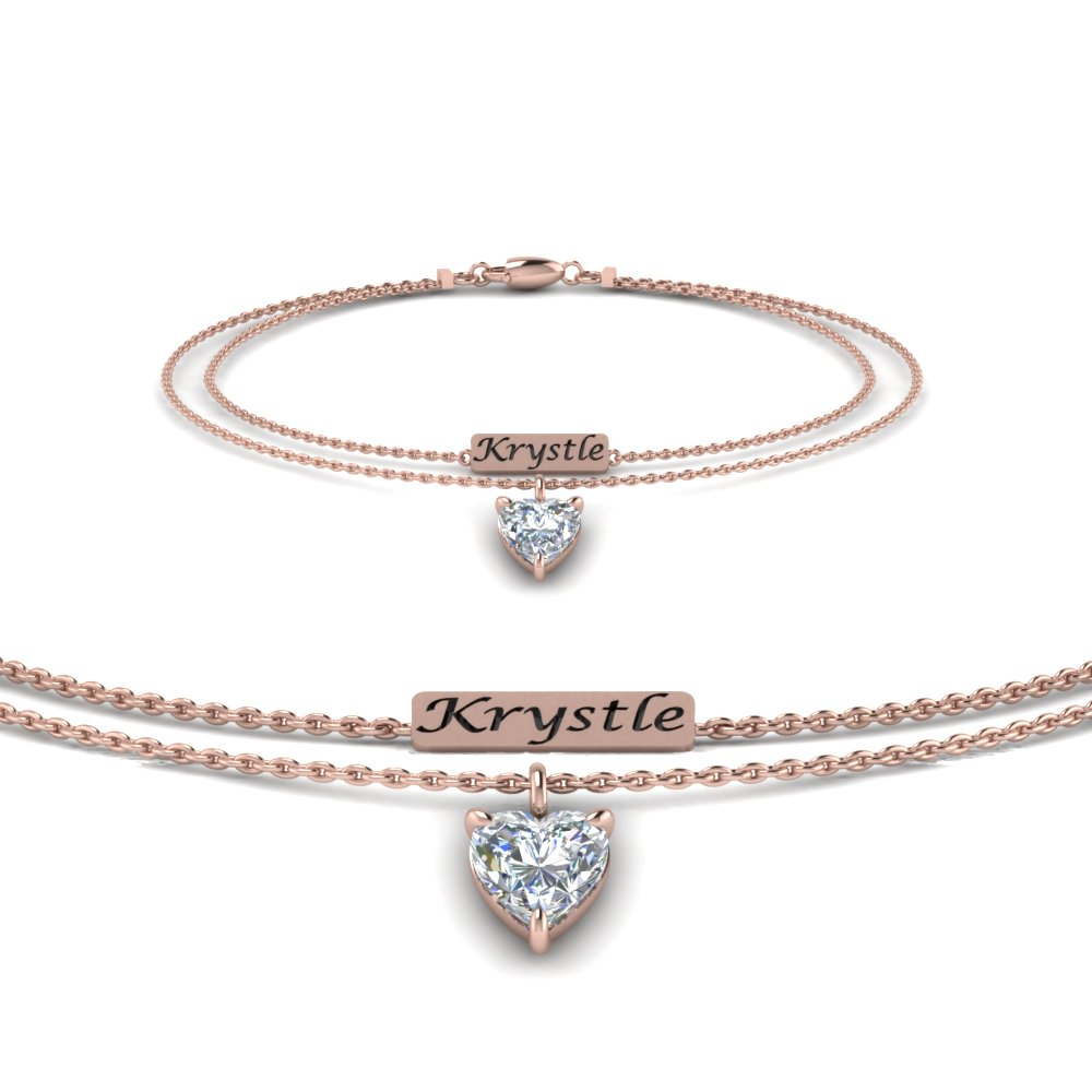 Personalized Heart Mom Diamond Bracelet