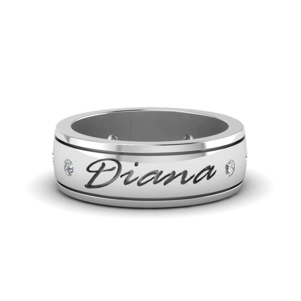 Personalized Mens 6.0mm Diamond Band