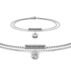 Personalized Mom Diamond Bracelet In 14K White Gold