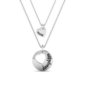 Personalized Necklace For Mother And Daughter In 14K White Gold