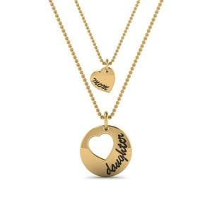14K Yellow Gold Necklace For Mother And Daughter