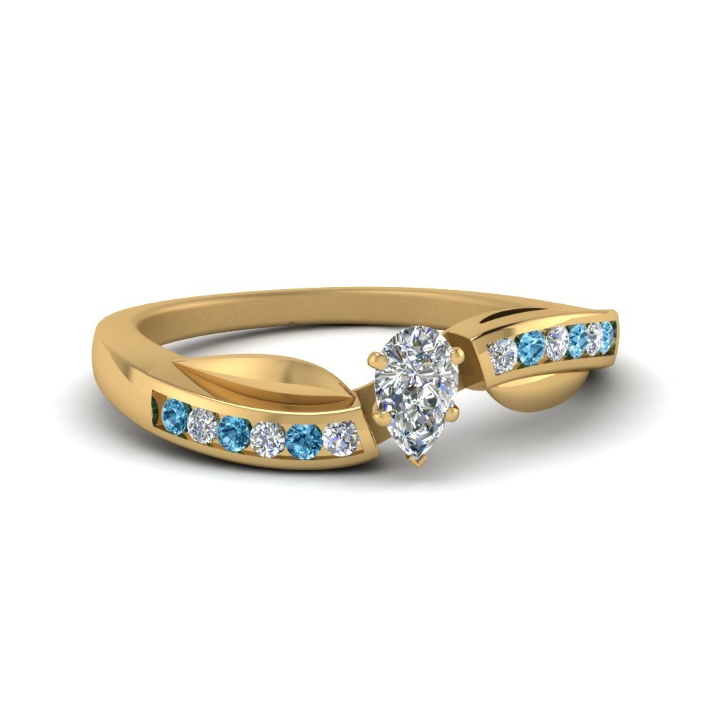 Petal Channel Set Pear Diamond Engagement Ring With Blue Topaz In 18K Yellow Gold