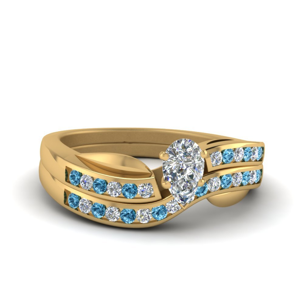 Petal Channel Set Pear Diamond Wedding Ring Set With Blue Topaz In 18K Yellow Gold