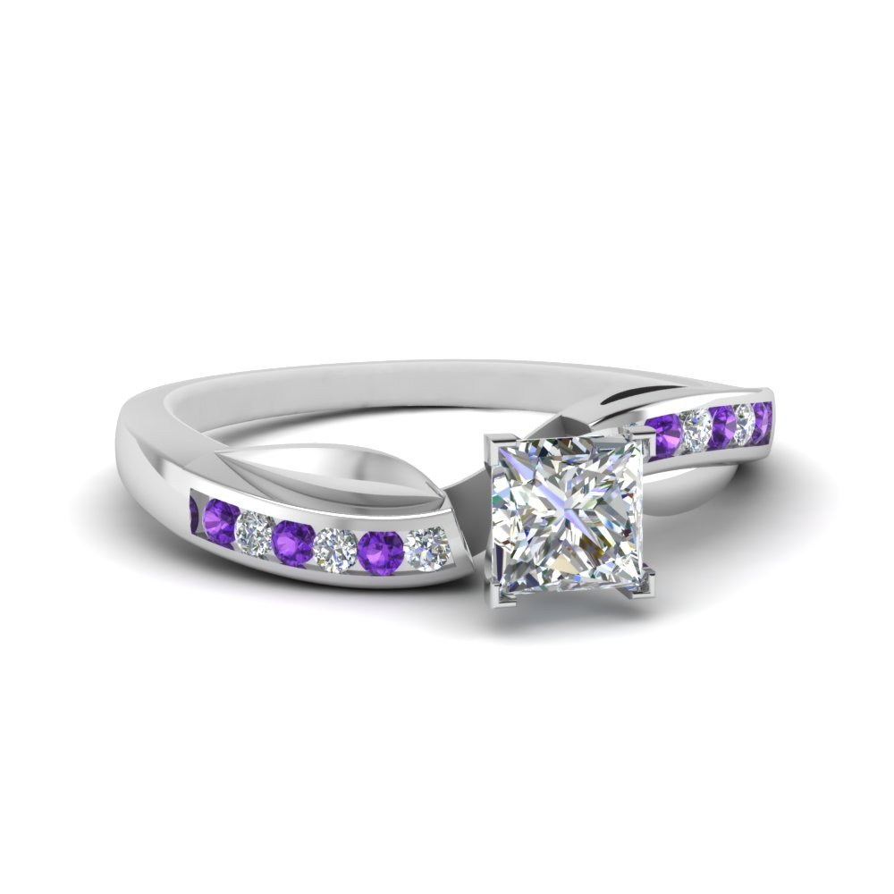 Petal Channel Set Princess Cut Diamond Engagement Ring With Purple Topaz In 950 Platinum