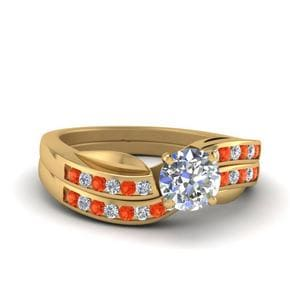 Orange Topaz Round Diamond Bridal Set