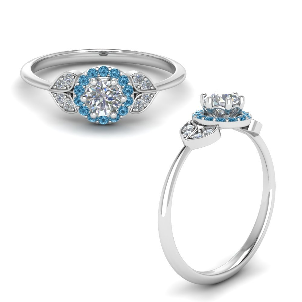 Petal Diamond Engagement Ring With Blue Topaz In 950 Platinum