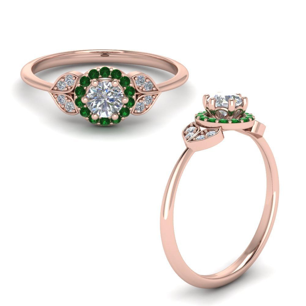 Petal Diamond Engagement Ring With Emerald In 18K Rose Gold