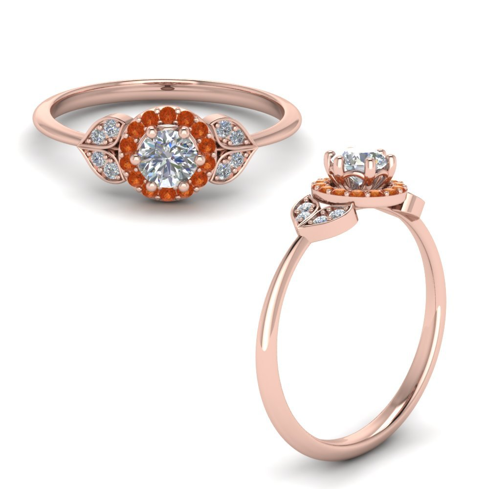 Petal Diamond Engagement Ring With Orange Sapphire In 14K Rose Gold