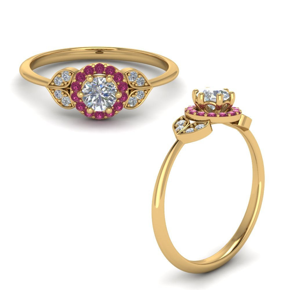 Petal Diamond Engagement Ring With Pink Sapphire In 14K Yellow Gold