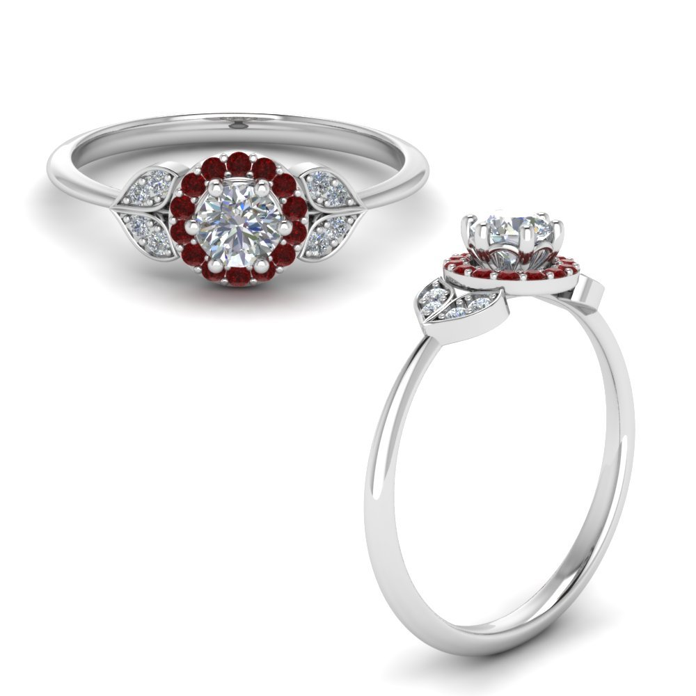 Petal Diamond Engagement Ring With Ruby In 18K White Gold