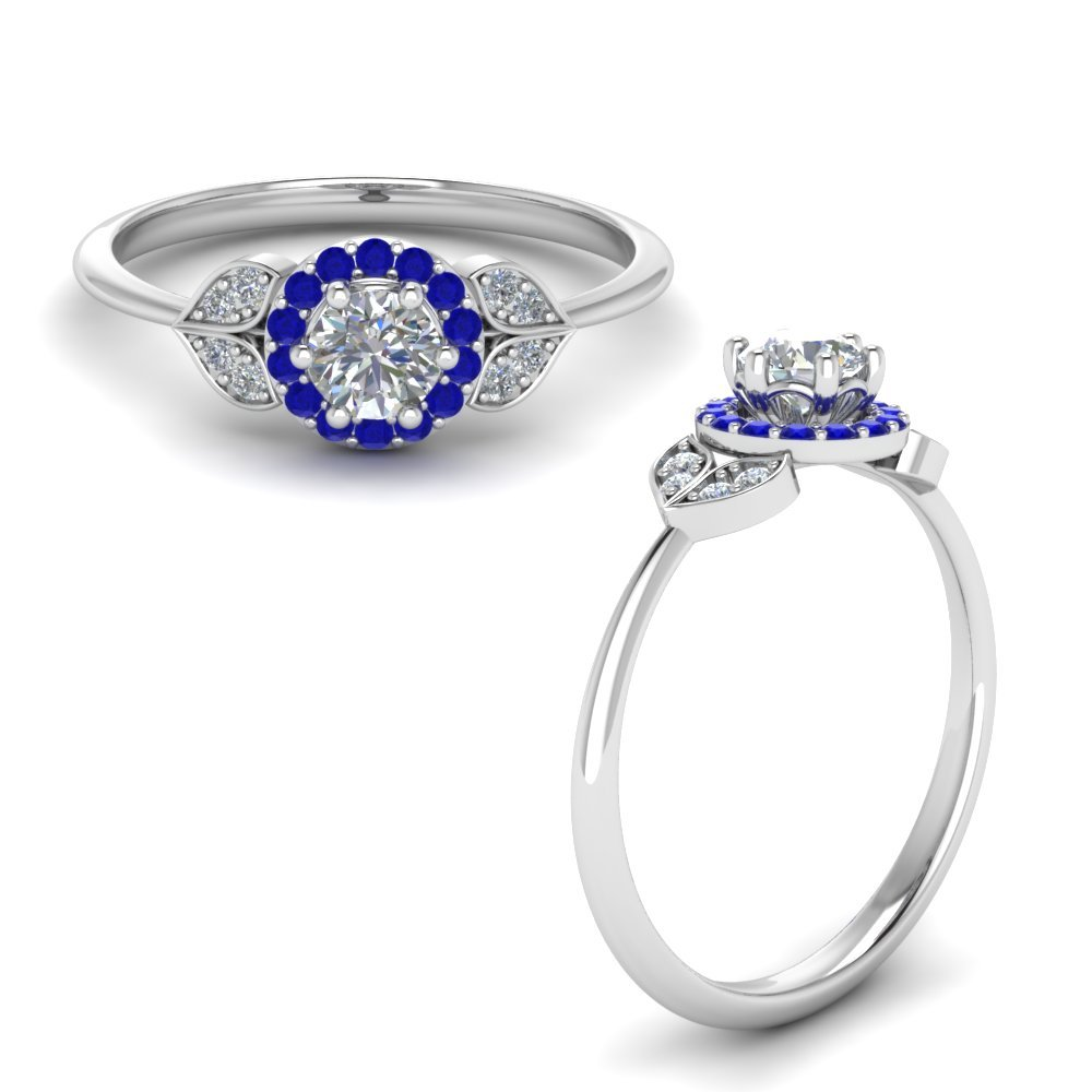 Petal Diamond Engagement Ring With Sapphire In 14K White Gold