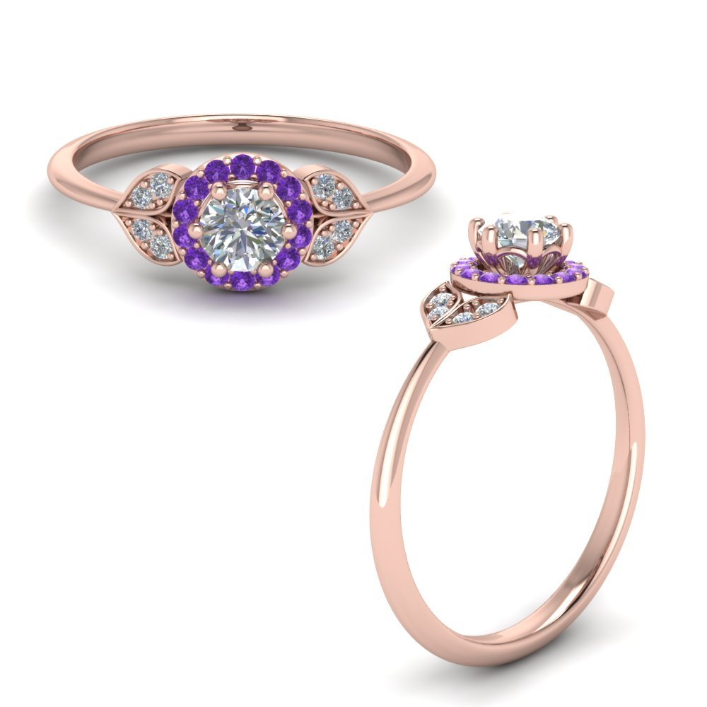 Petal Diamond Engagement Ring With Violet Topaz In 14K Rose Gold