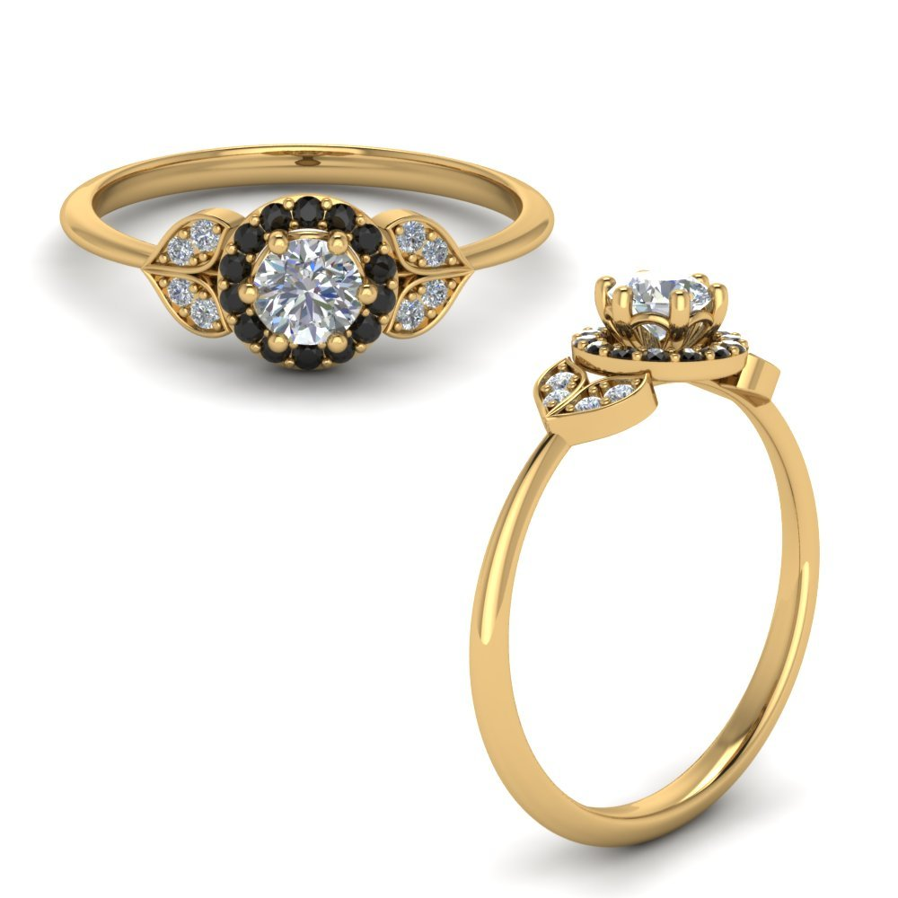 Petal Engagement Ring With Black Diamond In 18K Yellow Gold