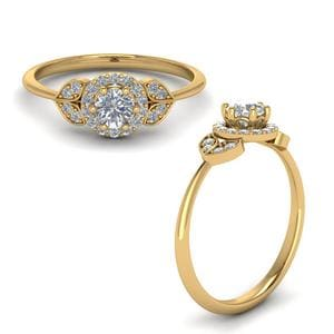 Petal Halo Diamond Engagement Ring In 14K Yellow Gold