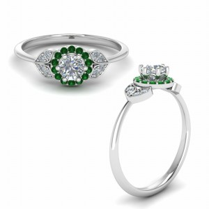 Petal Halo Ring With Emerald