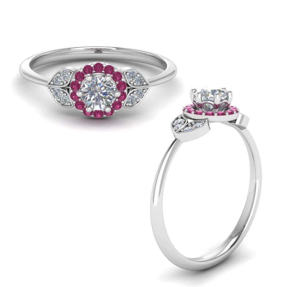 Pink Sapphire Petal Halo Ring