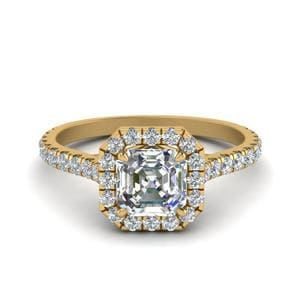 Petite Asscher Cut Diamond Halo Engagement Ring In 14K Yellow Gold