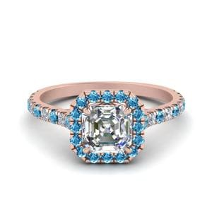 Petite Asscher Cut Diamond Halo Engagement Ring With Blue Topaz In 14K Rose Gold