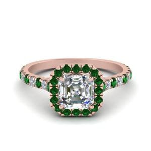 Petite Asscher Cut Diamond Halo Engagement Ring With Emerald In 18K Rose Gold