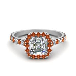 Petite Asscher Cut Diamond Halo Engagement Ring With Orange Sapphire In 14K White Gold