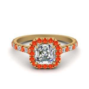 Petite Asscher Cut Diamond Halo Engagement Ring With Orange Topaz In 14K Yellow Gold