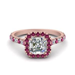 Petite Asscher Cut Diamond Halo Engagement Ring With Pink Sapphire In 14K Rose Gold
