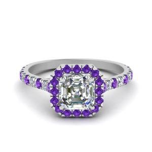 Petite Asscher Cut Diamond Halo Engagement Ring With Purple Topaz In 950 Platinum