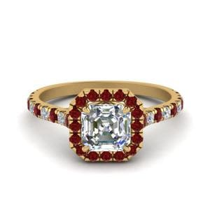 Petite Asscher Cut Diamond Halo Engagement Ring With Ruby In 18K Yellow Gold