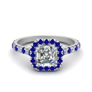 Petite Asscher Cut Diamond Halo Engagement Ring With Sapphire In 14K White Gold