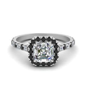 Petite Asscher Cut Halo Engagement Ring With Black Diamond In 18K White Gold