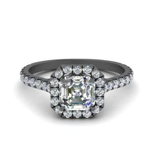 Petite Asscher Diamond Halo Ring