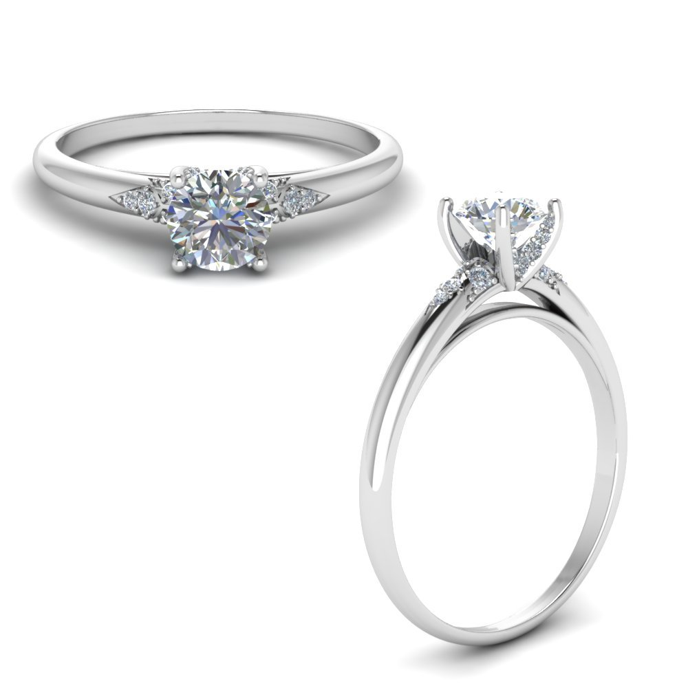 Petite Dome Diamond Engagement Ring In 14K White Gold