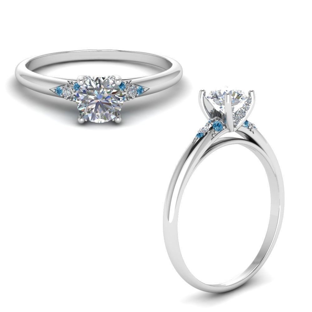 Petite Dome Diamond Engagement Ring With Blue Topaz In 14K White Gold