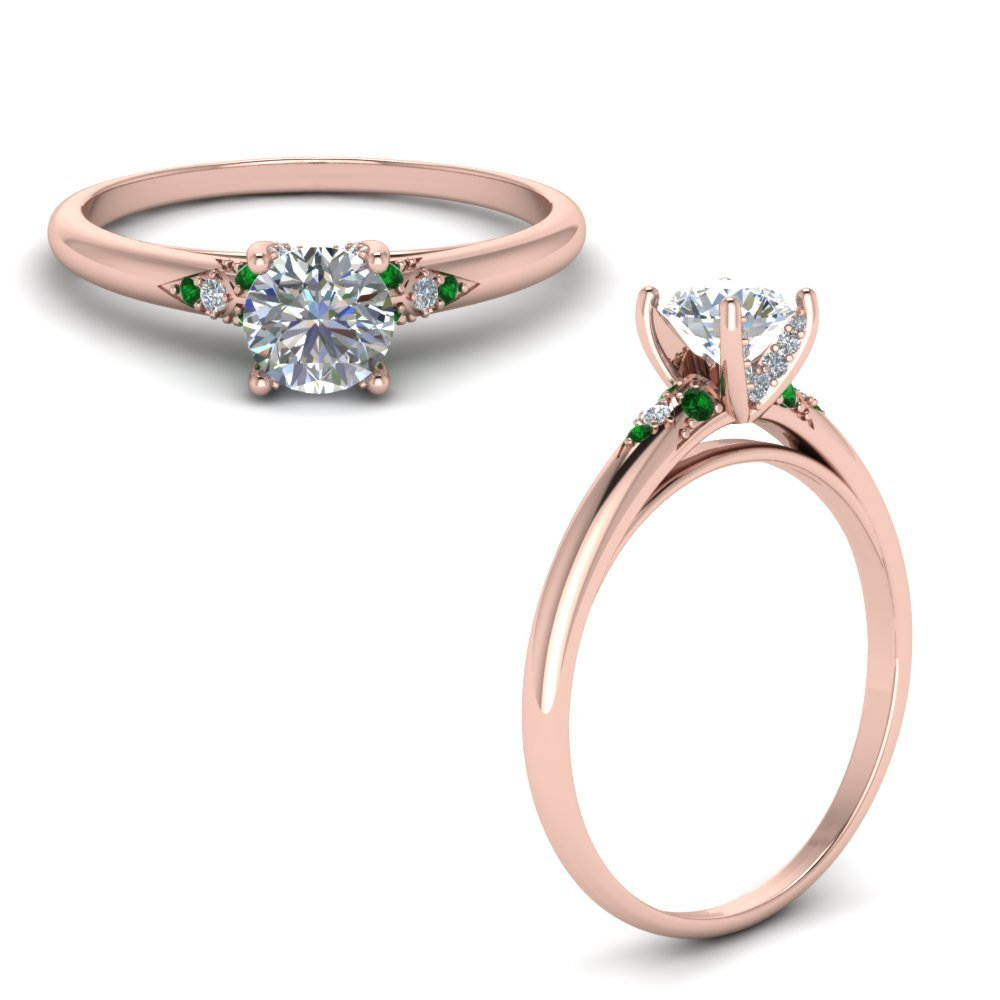 Petite Dome Diamond Engagement Ring With Emerald In 18K Rose Gold