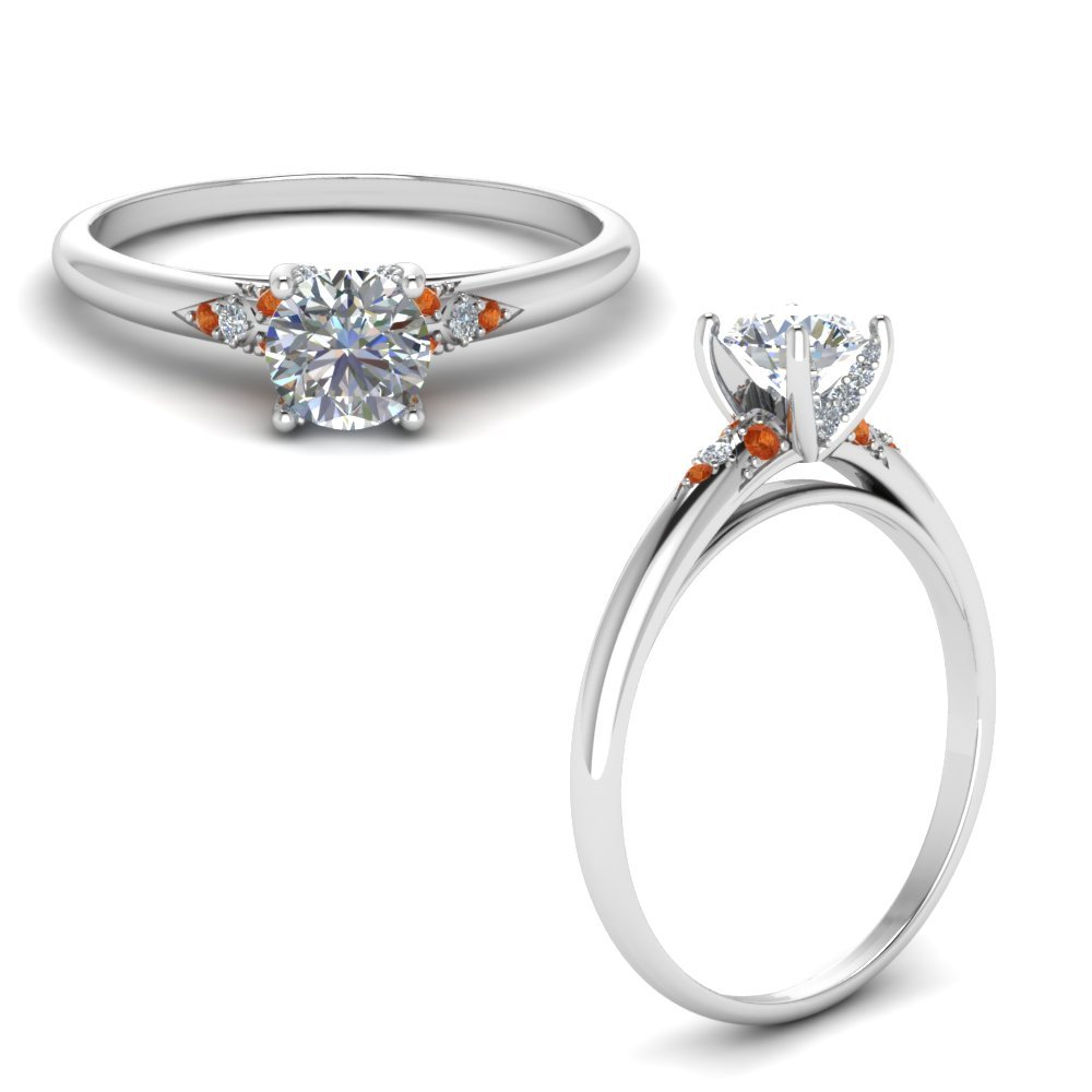 Petite Dome Diamond Engagement Ring With Orange Sapphire In 14K White Gold