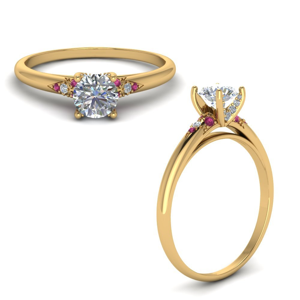 Petite Dome Diamond Engagement Ring With Pink Sapphire In 14K Yellow Gold