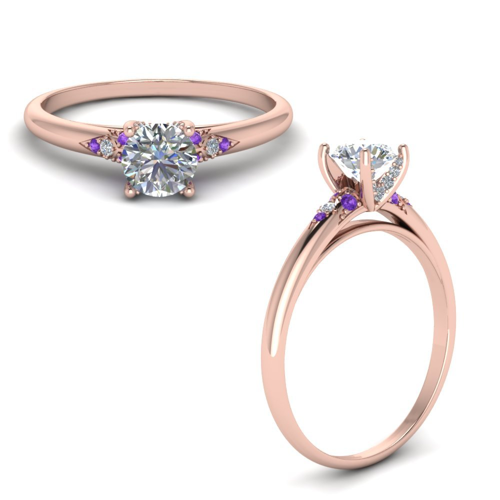Petite Dome Diamond Engagement Ring With Purple Topaz In 14K Rose Gold