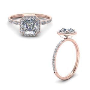 Petite Halo Diamond Engagement Ring In 14K Rose Gold